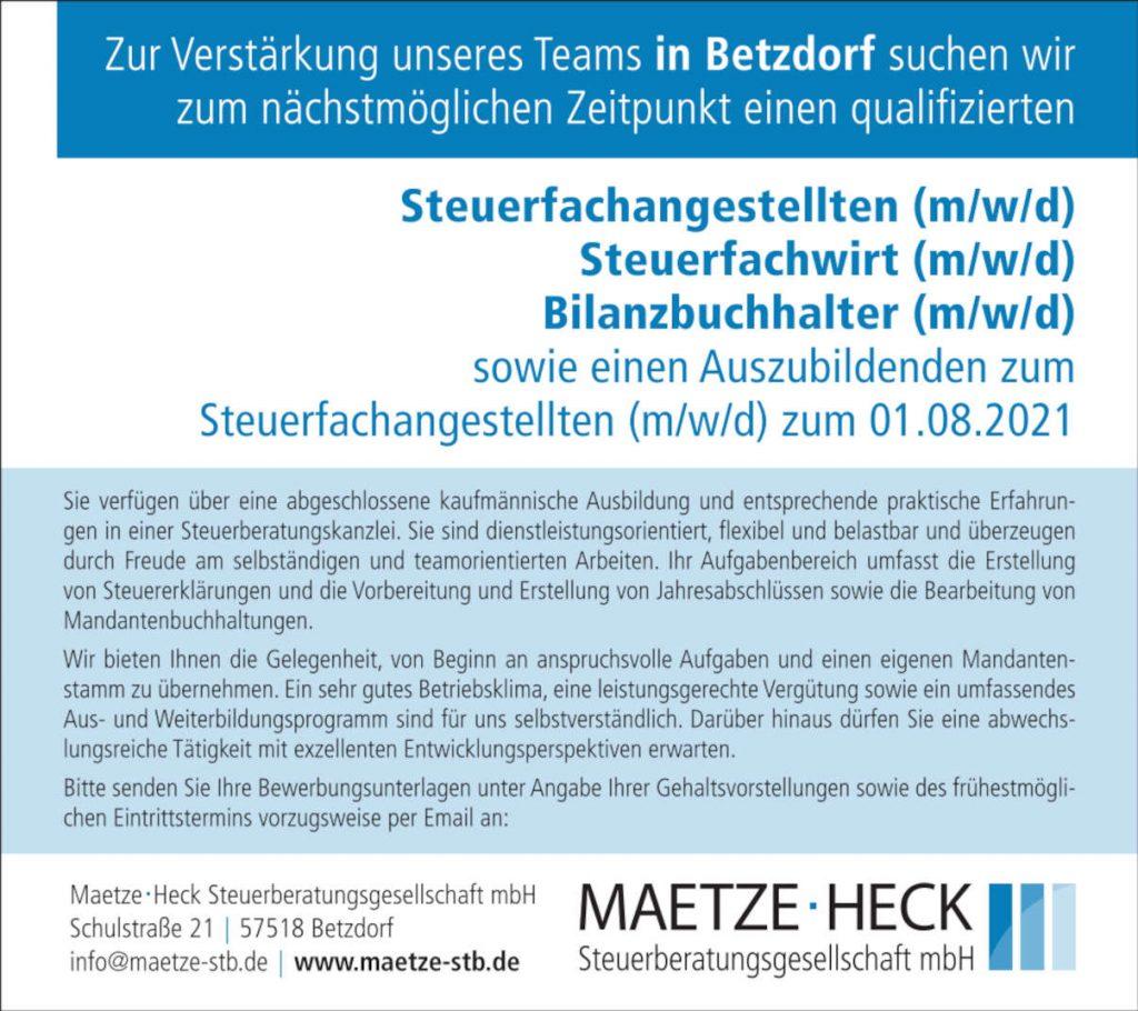 Maetze Stellenanz Feb21 90x80 Btz