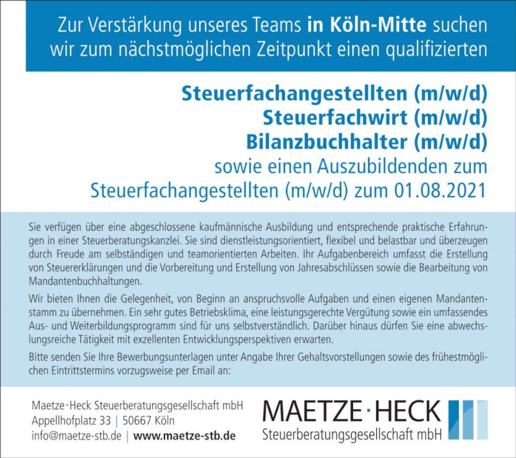 Maetze Stellenanz Feb21 90x80 Kln